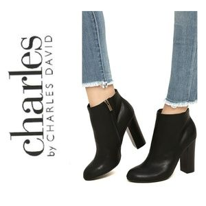 CHARLES DAVID Black Leather Booties Ankle Boots